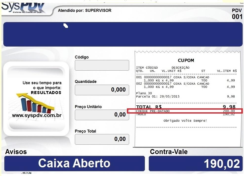 eae1d8421 Requisição  3984  Processamento com Finalizadora Cheque Pré-Datado ...